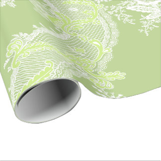 Wrapping Paper Green Vintage Floral With Lace