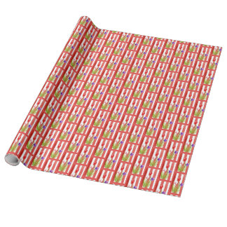 WRAPPING PAPER WITH PINK, RED & PURPLE TULIPS.