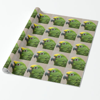 Wrapping paper yellow headed Amazon green parrot