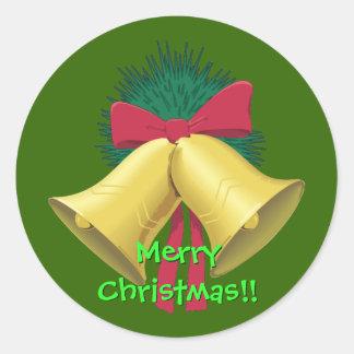Wreath and Bells envelope sealers Round Sticker