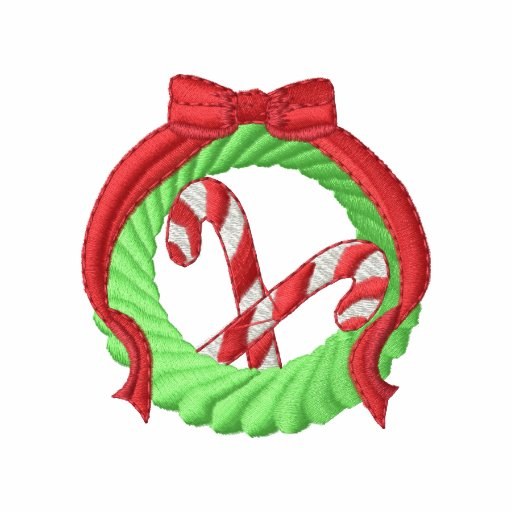 Wreath and Candy Cane Embroidered Hoodie