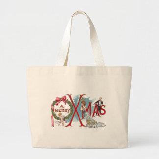 Wreath and Cupid Vintage XMAS Canvas Bags