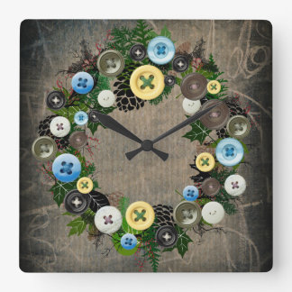 """Wreath """"Blooming Buttons"""" Buttons Pine Cone Clock"""