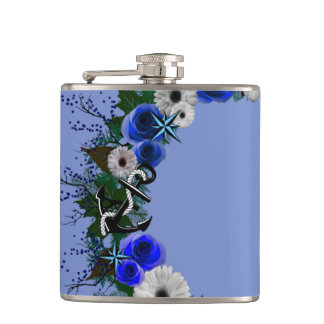 "Wreath ""Blue Anchor"" Blue/White Flowers Flask"