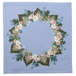 "Wreath ""Blue Dot"" Flowers Floral Napkins"