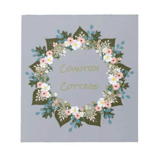 "Wreath ""Blue Dot"" Flowers Floral Notepad"