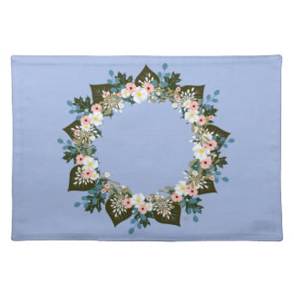 "Wreath ""Blue Dot"" Flowers Floral Placemat"