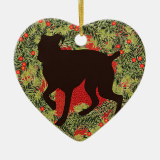 Wreath Boxer Christmas Ornament