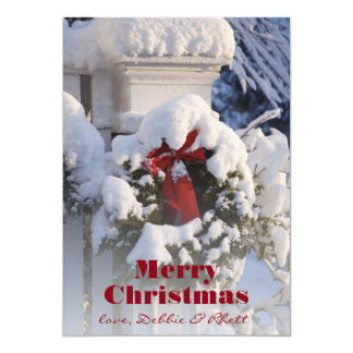 Wreath covered in snow 13 cm x 18 cm invitation card