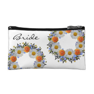 Wreath Daisy Flowers Floral Vector Cosmetic Bag