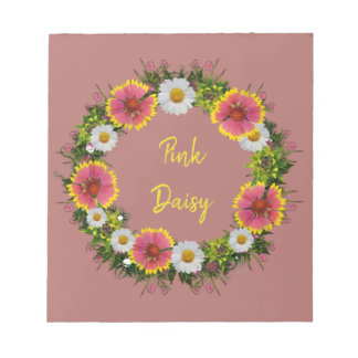 "Wreath ""Daisy Rose"" Flowers Floral Notepad"