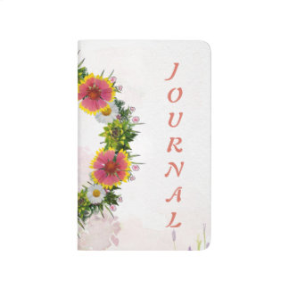 "Wreath ""Daisy Rose"" Flowers Floral Pocket Journal"