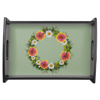 """Wreath """"Daisy Rose"""" Flowers Floral Serving Tray"""