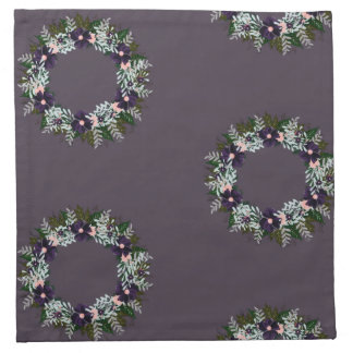 "Wreath ""Dark Purple"" Flowers Floral Napkins"