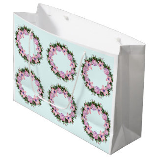 Wreath Dolly Peppermint Flowers Floral Vector Pink Large Gift Bag