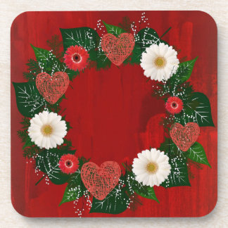 "Wreath ""Doodly Hearts"" Red Flowers Hearts Coasters"