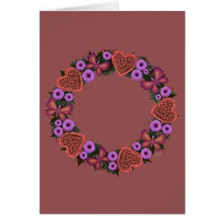"Wreath ""Dusty Heart"" Purple Flowers Greeting Card"