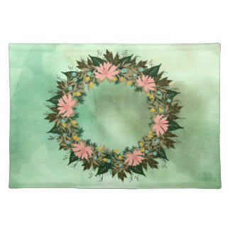"Wreath ""Enjoy"" Flowers Floral Placemat"