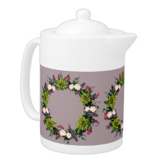 "Wreath ""Fab Cab"" Flowers Floral Leaves Teapot"