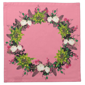 "Wreath ""Fab Cab"" Flowers Floral Napkins"