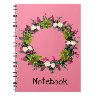 "Wreath ""Feb Cab"" Flowers Floral Notebook"