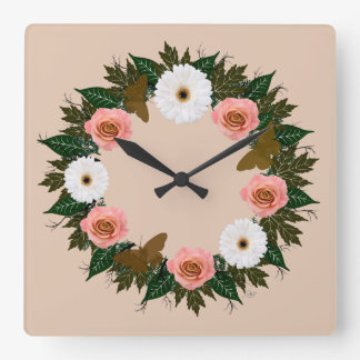 """Wreath """"Gold Butterfly"""" Pink/White Flowers Clock"""