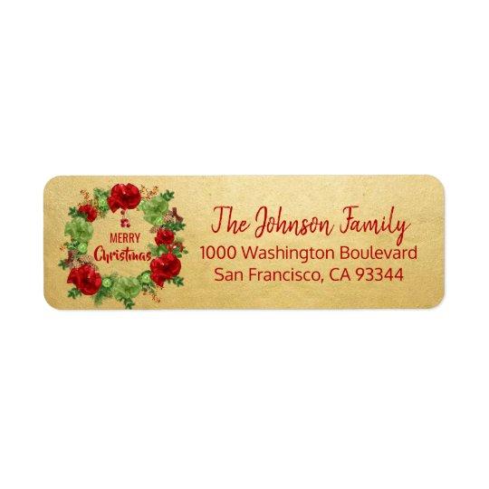 Wreath Gold Holiday Christmas Return Address