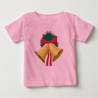 Wreath, Golden Bells and Red Bow Baby T-Shirt