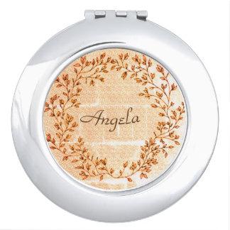 Wreath-Golden-Leaves_Celebration-Giftware_Monogram Compact Mirror