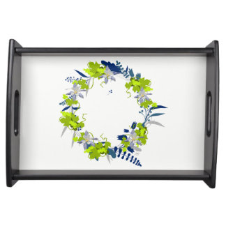 """Wreath """"Grape Love"""" Flowers Floral Serving Tray"""