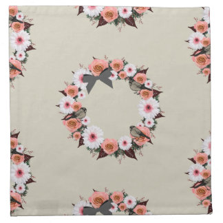 "Wreath ""Gray Bow"" Flowers Floral Napkins"