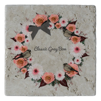 "Wreath ""Gray Bow"" Flowers Floral Trivet"