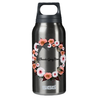 "Wreath ""Gray Bow"" Flowers Floral Water Bottle"