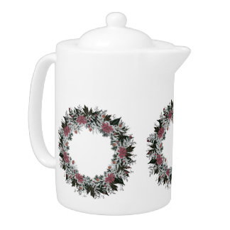 "Wreath ""Gray Red"" Filtered Flowers Floral Teapot"