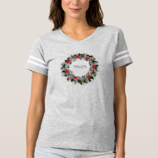 """Wreath """"Gray Red"""" Flowers Floral Football T-Shirt"""