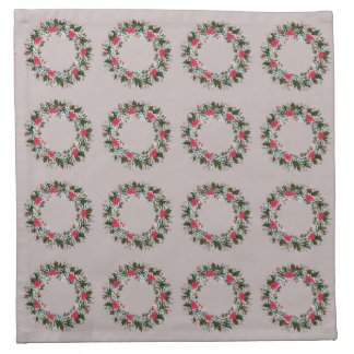 "Wreath ""Gray Red"" Flowers Floral Napkins"