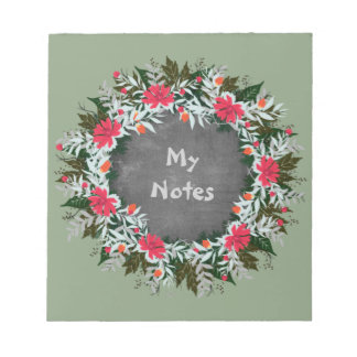 """Wreath """"Gray Red"""" Flowers Floral Notepad"""