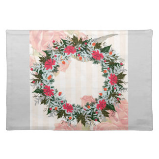 "Wreath ""Gray Red"" Flowers Floral Placemat"