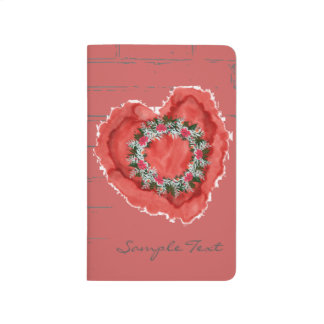 "Wreath ""Gray Red"" Flowers Floral Pocket Journal"