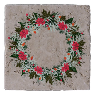 "Wreath ""Gray Red"" Flowers Floral Trivet"