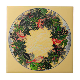 """Wreath """"Green Pine Cone"""" Red Birds Trivet Small Square Tile"""