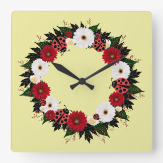 "Wreath ""Lady Bug"" Red/White Flowers Clock"