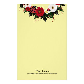 """Wreath """"Lady Bug"""" Red/White Flowers Stationery"""