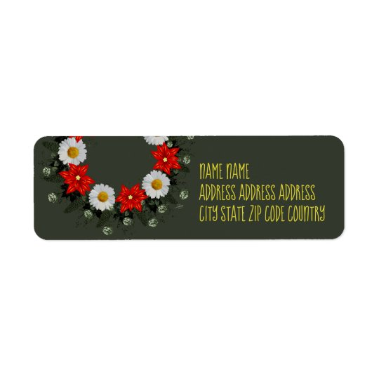 "Wreath ""Merry Wedding"" Flowers Address Labels"