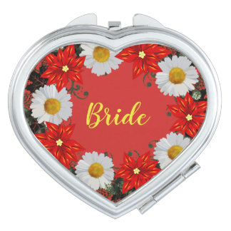 """Wreath """"Merry Wedding"""" Flowers Floral Mirror Compact Mirrors"""