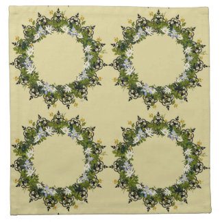 "Wreath ""Mini White"" Flowers Floral Napkins"