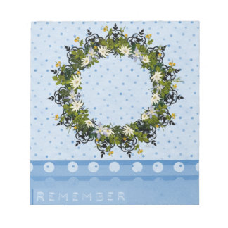 """Wreath """"Mini White"""" Flowers Floral Notpad Notepad"""
