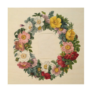 Wreath of Roses, Frontispiece for 'Les Roses' Wood Wall Decor