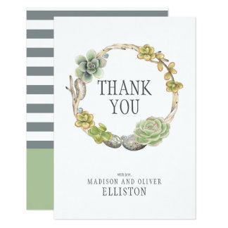 Wreath of Succulents, Twigs and Stones   Thank You Card