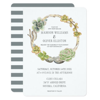 Wreath of Succulents, Twigs and Stones   Wedding Card